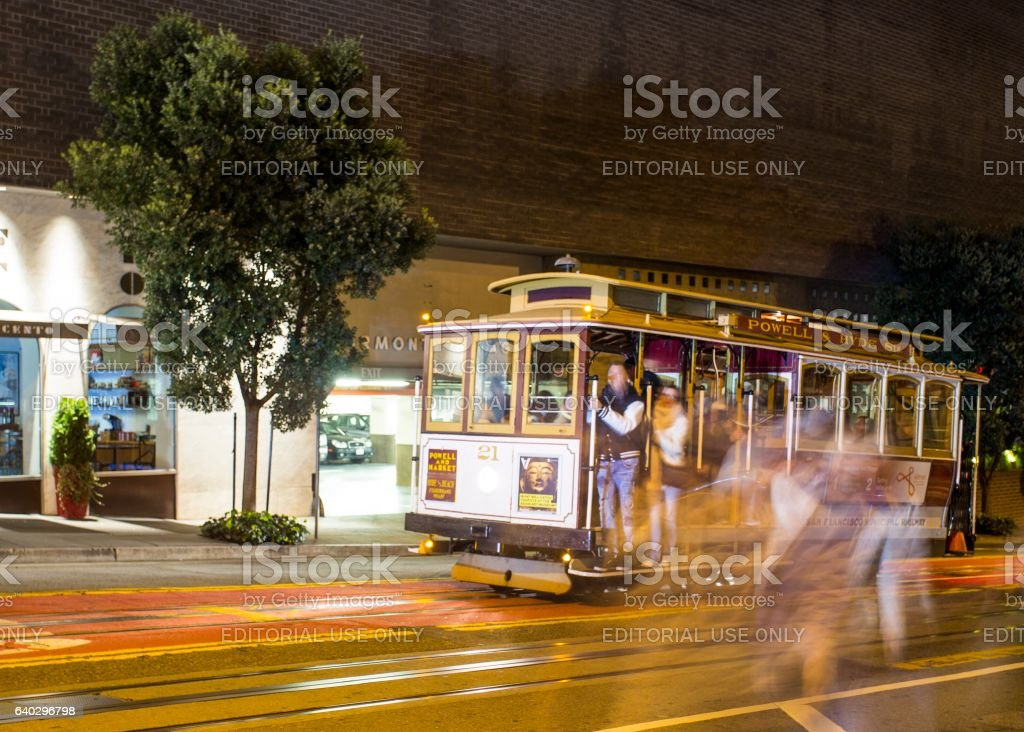 Long exposure of cable car in San Francisco stock photo