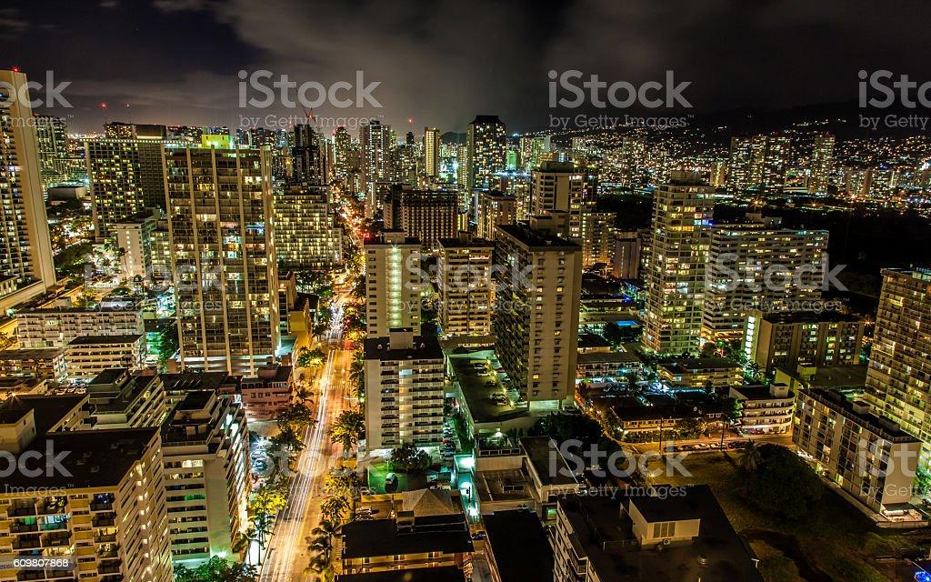 Long Exposure of Downtown Honolulu royalty-free stock photo