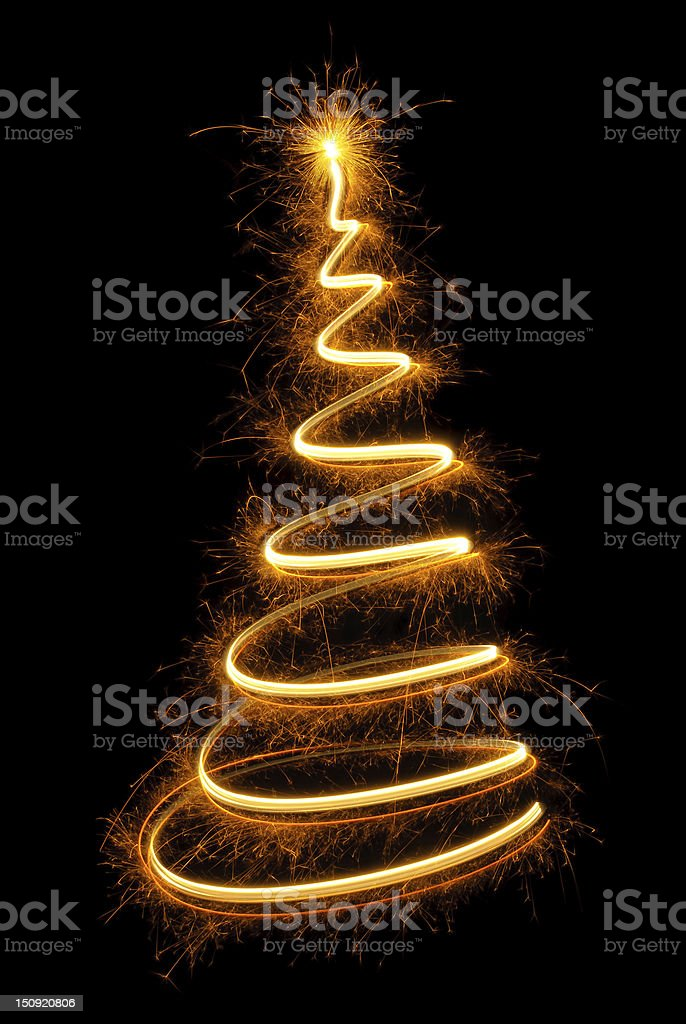 Long exposure of firework making a cone shape in the dark royalty-free stock photo