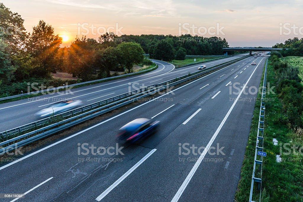 Long exposure of german autobahn stock photo