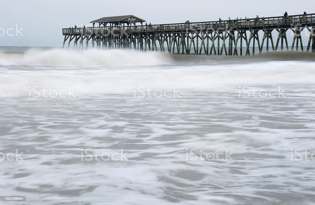 Long exposure of Hurricane Sandy waves in Myrtle Beach SC stock photo