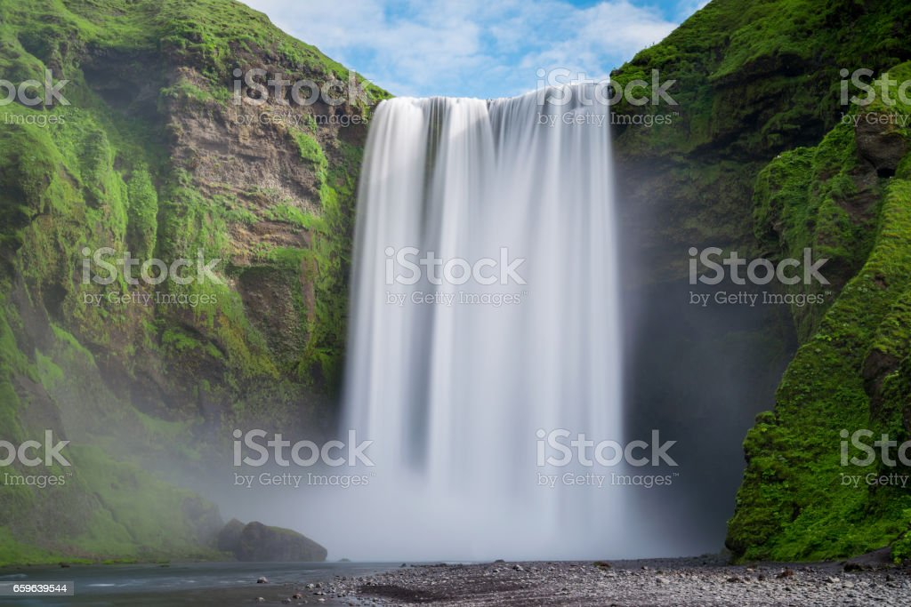 Long exposure of Skogafoss waterfall stock photo