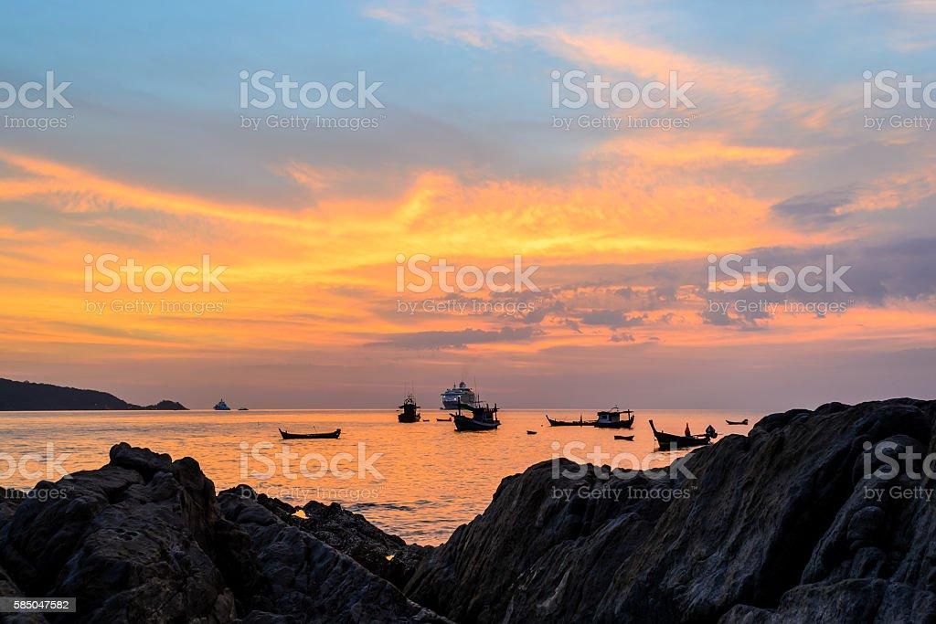 Long Exposure of Sunset at Kalim beach stock photo
