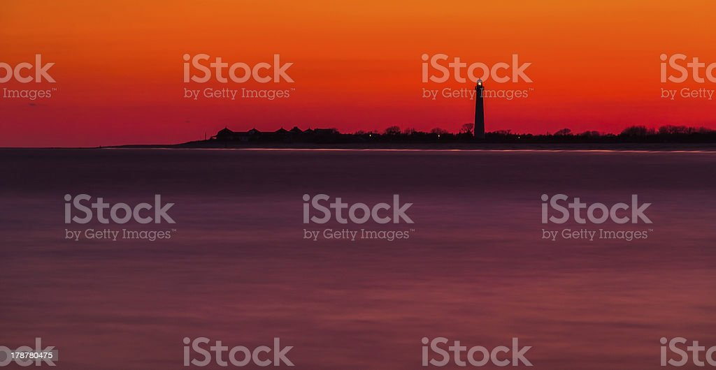 Long exposure of the Cape May Point Lighthouse after sunset royalty-free stock photo