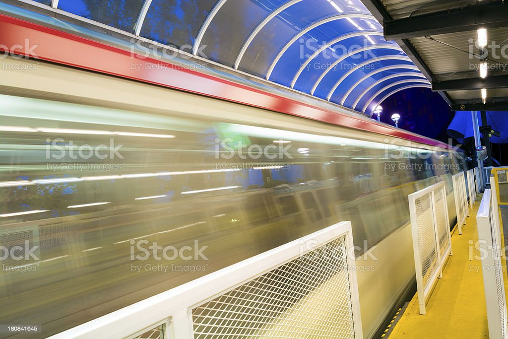 Long exposure of the Seattle Monorail at night stock photo