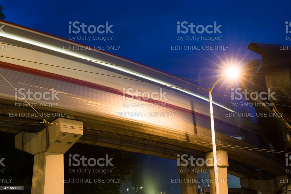 Long exposure of the Seattle Monorail at night royalty-free stock photo