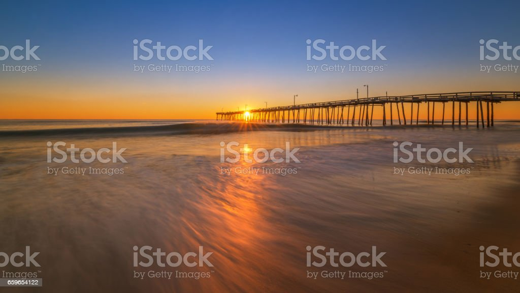 Long exposure of water with Nags Head in the back stock photo