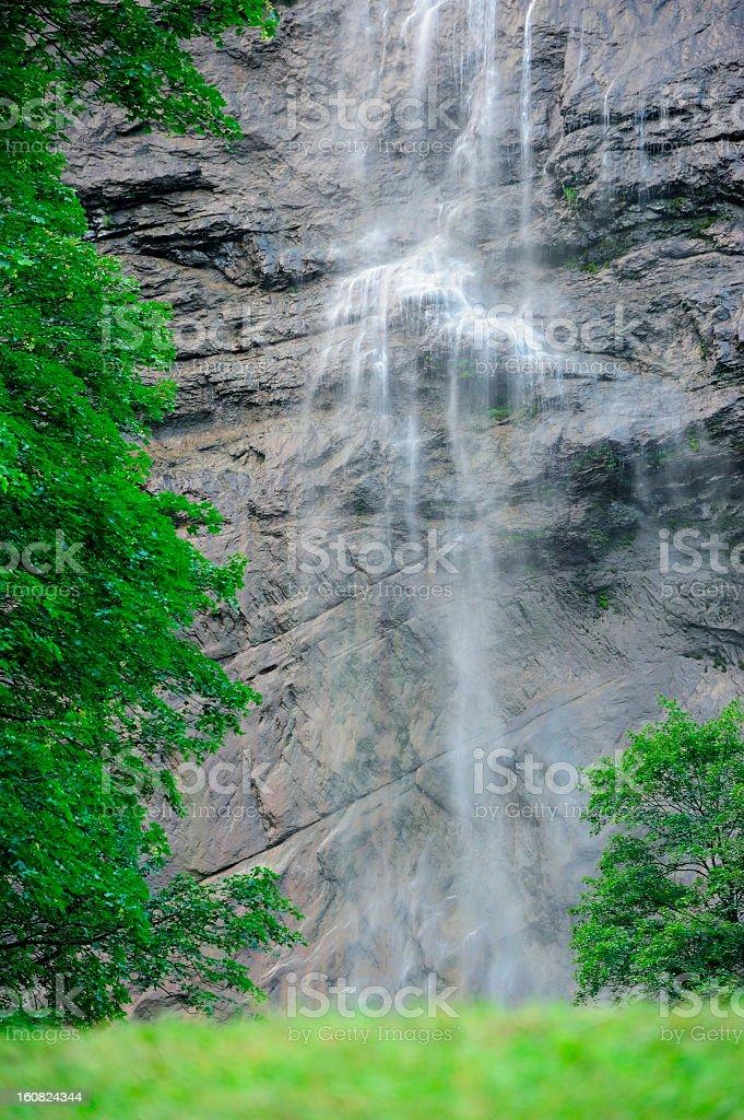 Long Exposure of Waterfall at Lauterbrunnen, Switzerland stock photo