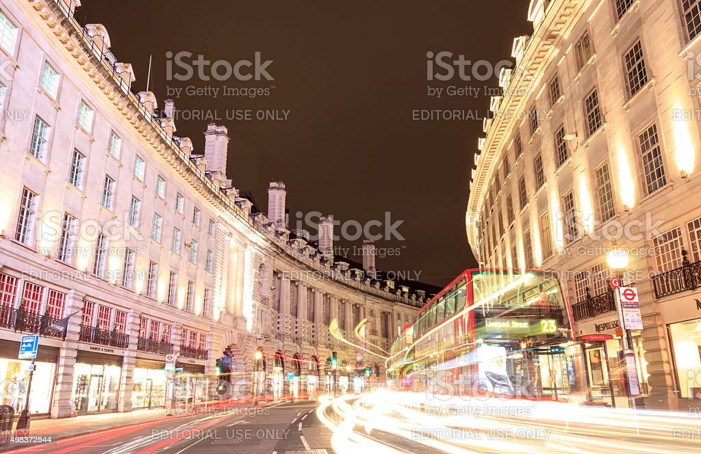 Long exposure on the Regent Street in London, bright evening stock photo