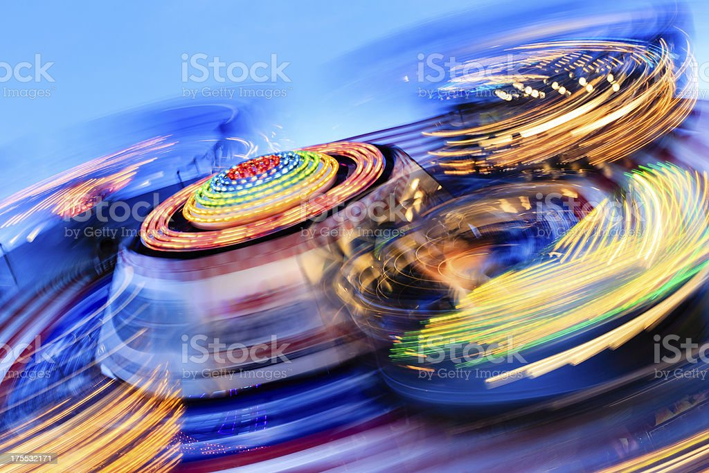 Long exposure photo of carnival rides stock photo