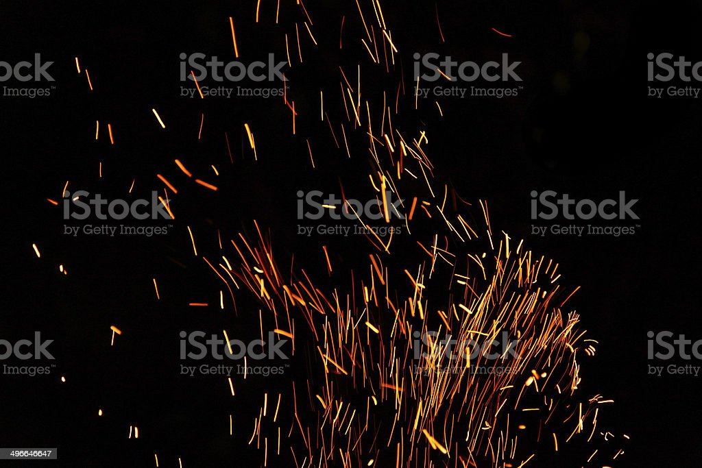 long exposure photo of fire camp sparkles stock photo