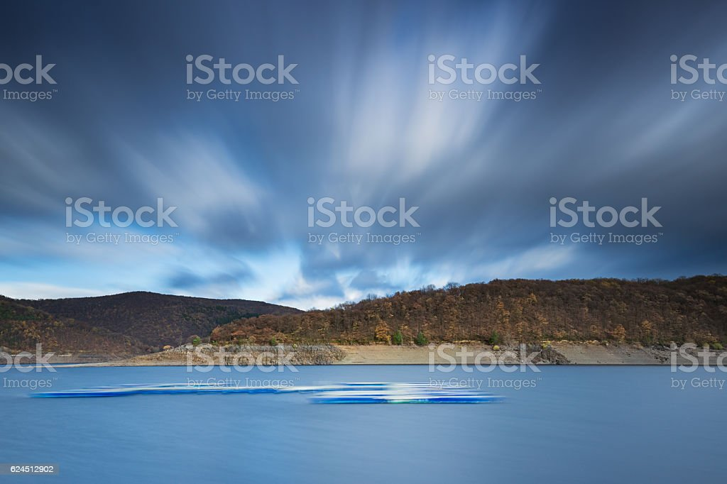 Long Exposure photo of lake Rursee in Germany. stock photo