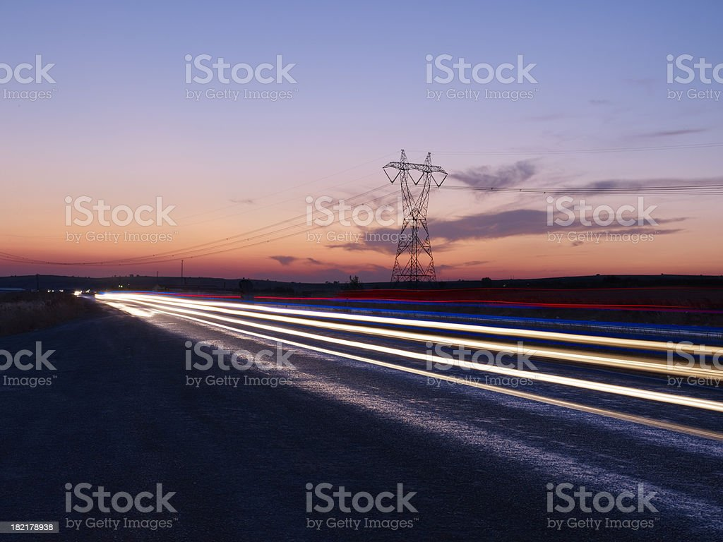 Long exposure photo of traffic on royalty-free stock photo