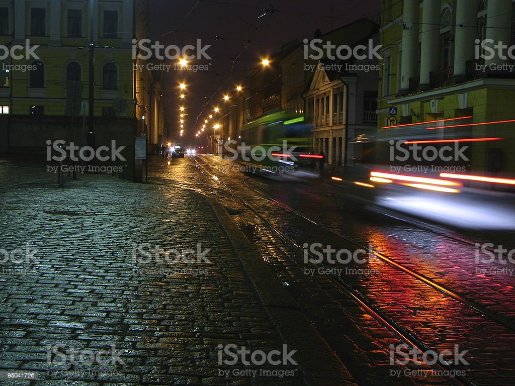 Long exposure photograph of Helsinki at night time royalty-free stock photo