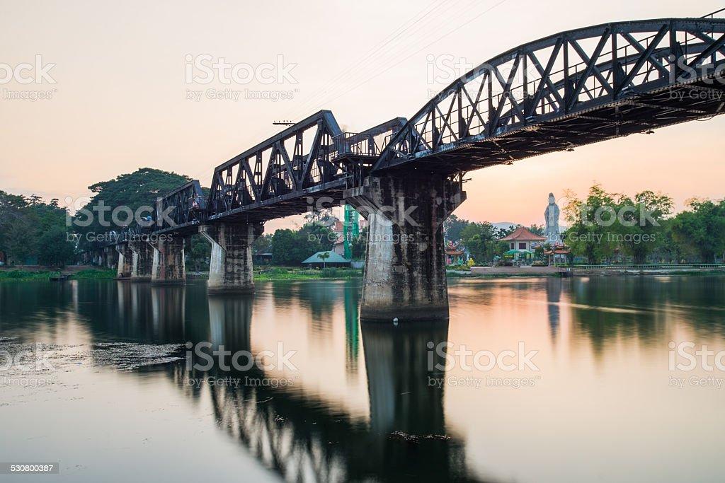 long exposure photography at river kwai bridge in Kanchanaburi ,Thailand stock photo