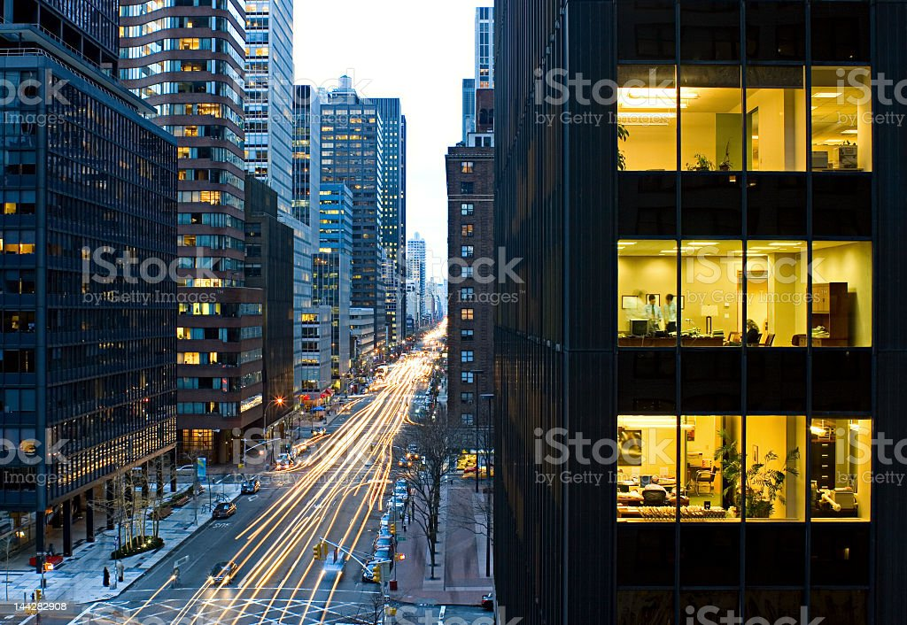 Long exposure photography of and active street and building royalty-free stock photo
