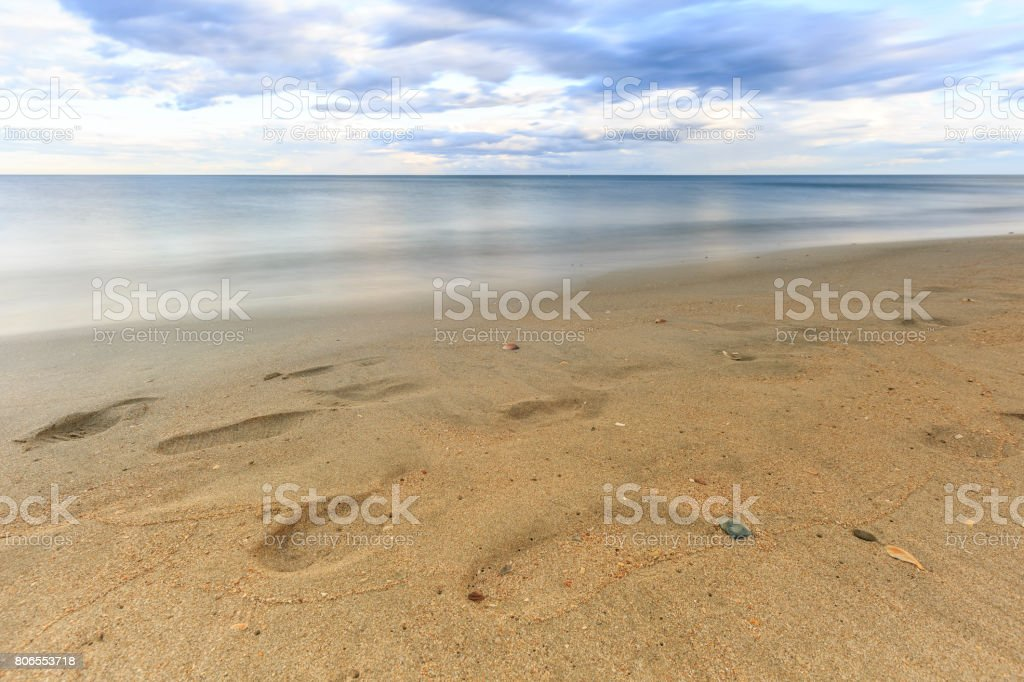 Long exposure photography on  the beach stock photo