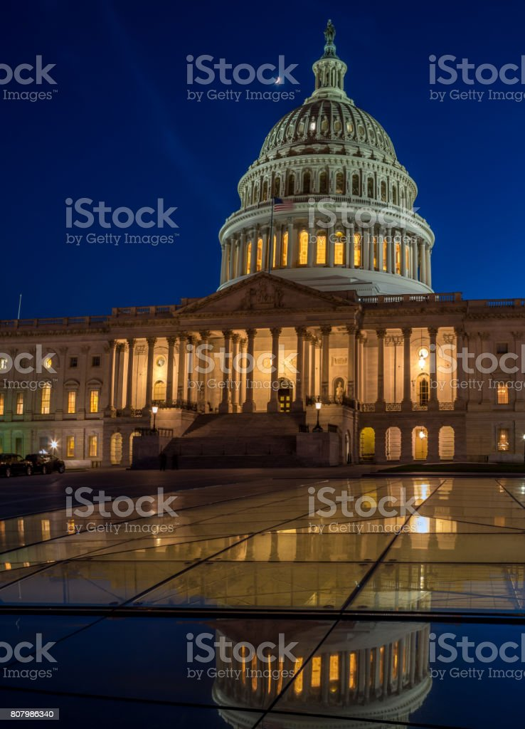 Long Exposure Picture of the US Capitol Building stock photo