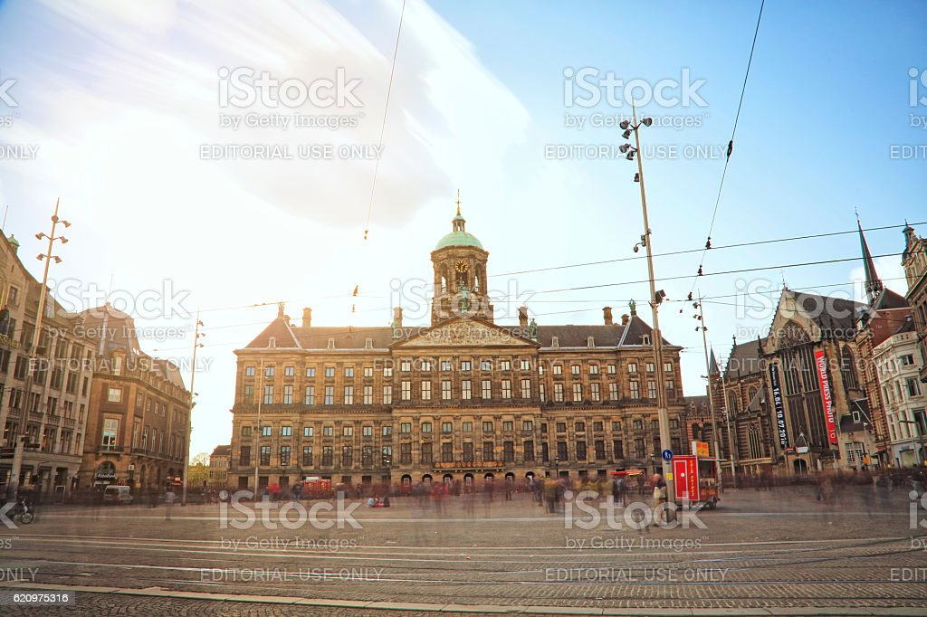 Long exposure - Royal Palace in Amsterdam, Netherlands stock photo