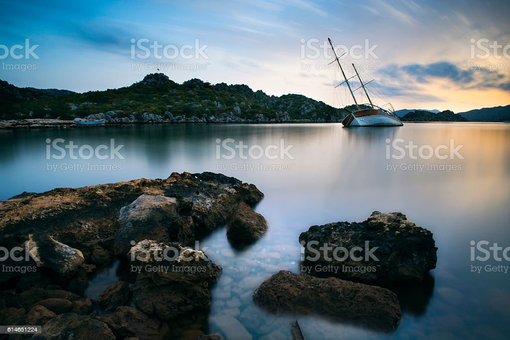 Long exposure sea scape stock photo