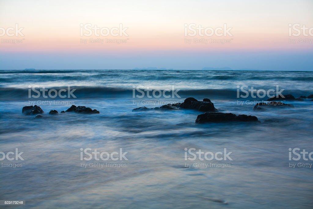 long exposure seascape in twilight stock photo