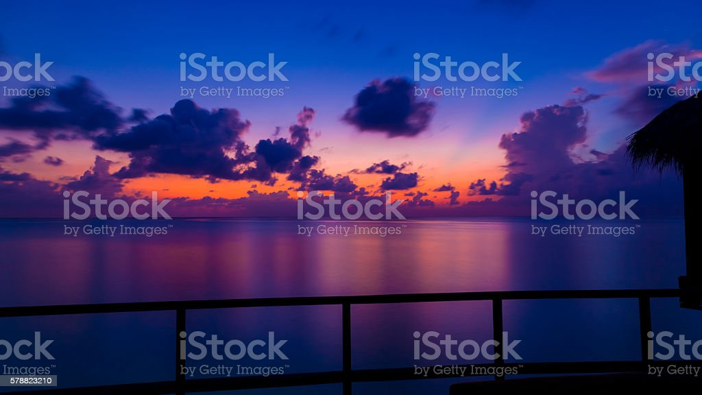 Long Exposure shot from Deck in Maldives stock photo