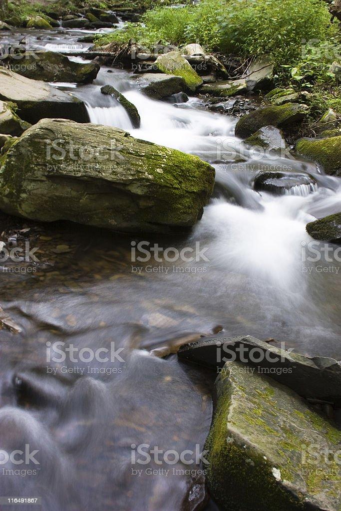 Long exposure shot of flowing water. Waterfall: Bushkill Falls stock photo
