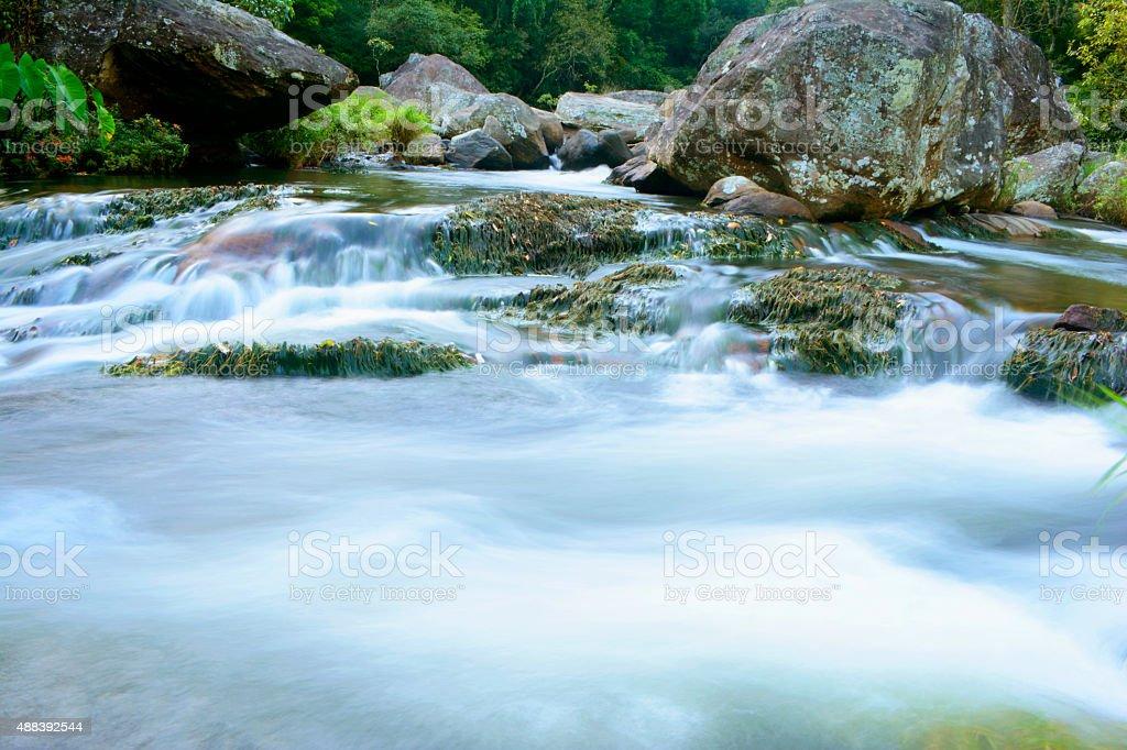 Long Exposure Shot of Mountain Stream stock photo
