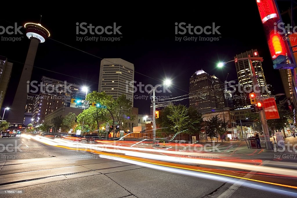 A long exposure shot of traffic at downtown Calgary, Canada royalty-free stock photo