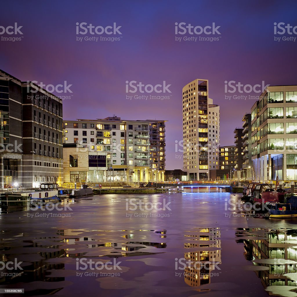 Long exposure shot showing Leeds Dock in Leeds at night royalty-free stock photo