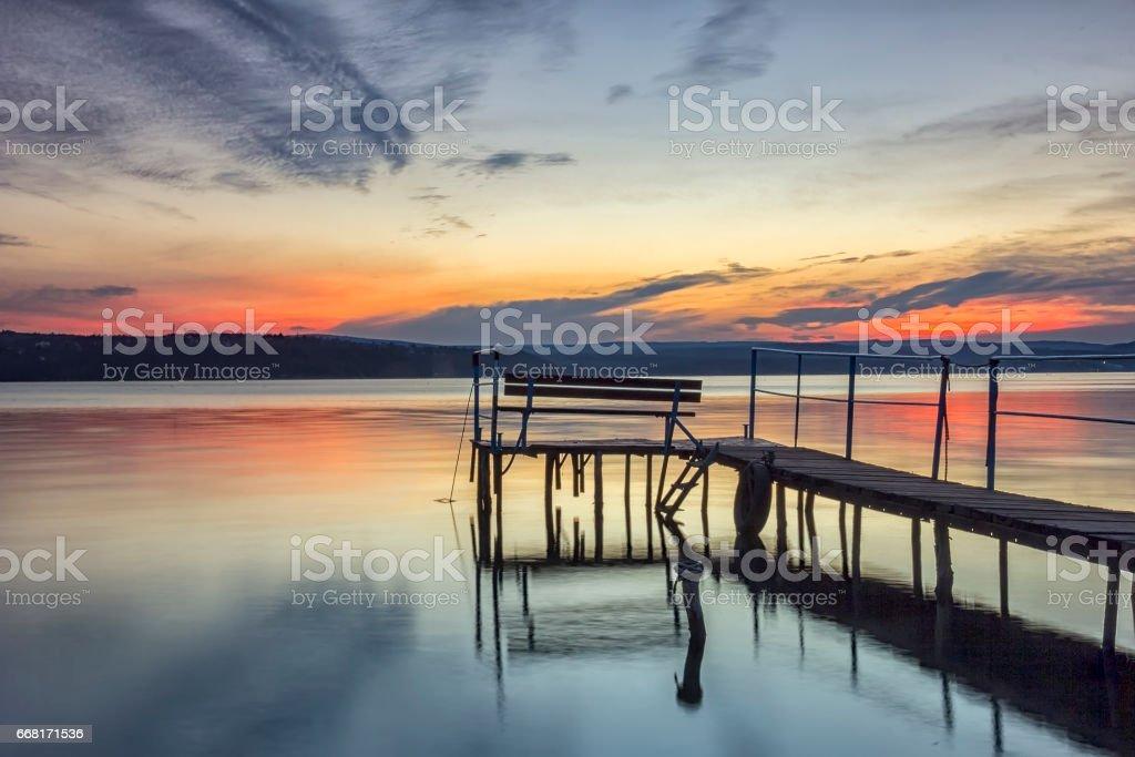 long exposure sunset stock photo