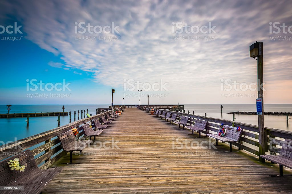 Long exposure taken on the pier in Chesapeake Beach, Maryland. stock photo