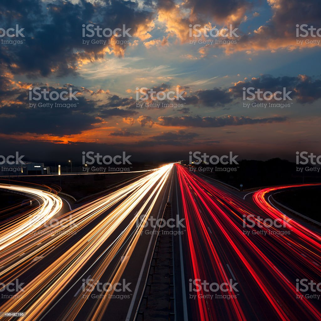 Long Exposure Traffic - abstract urban background stock photo
