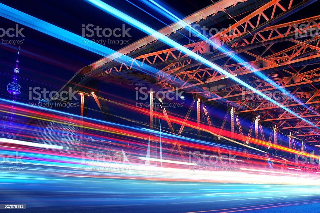 Long exposure, traffic at night in Shanghai, China stock photo