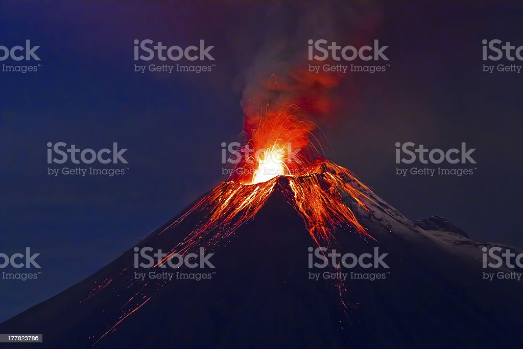 Long exposure, Tungurahua volcano with blue skyes stock photo