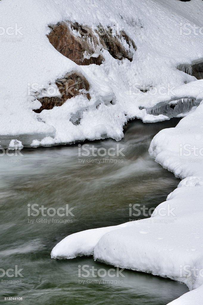 Long Exposure Unfrozen River New Hampshire stock photo
