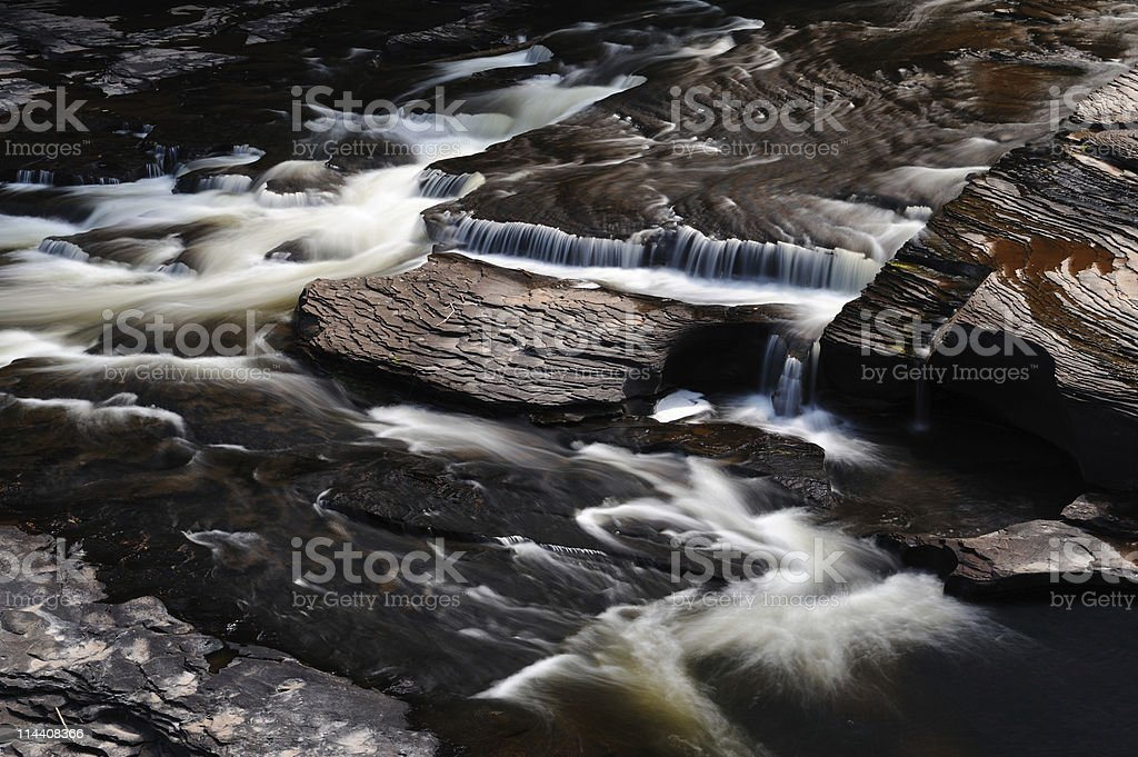 Long Exposure: Water Flowing Over Rocks stock photo