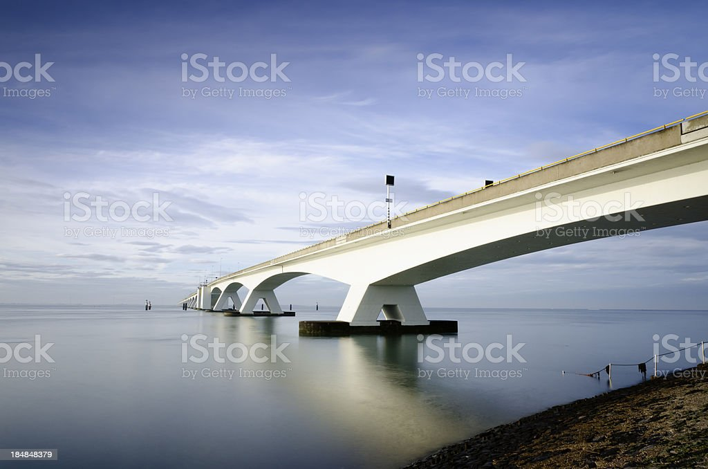Long exposure Zeeland Bridge royalty-free stock photo