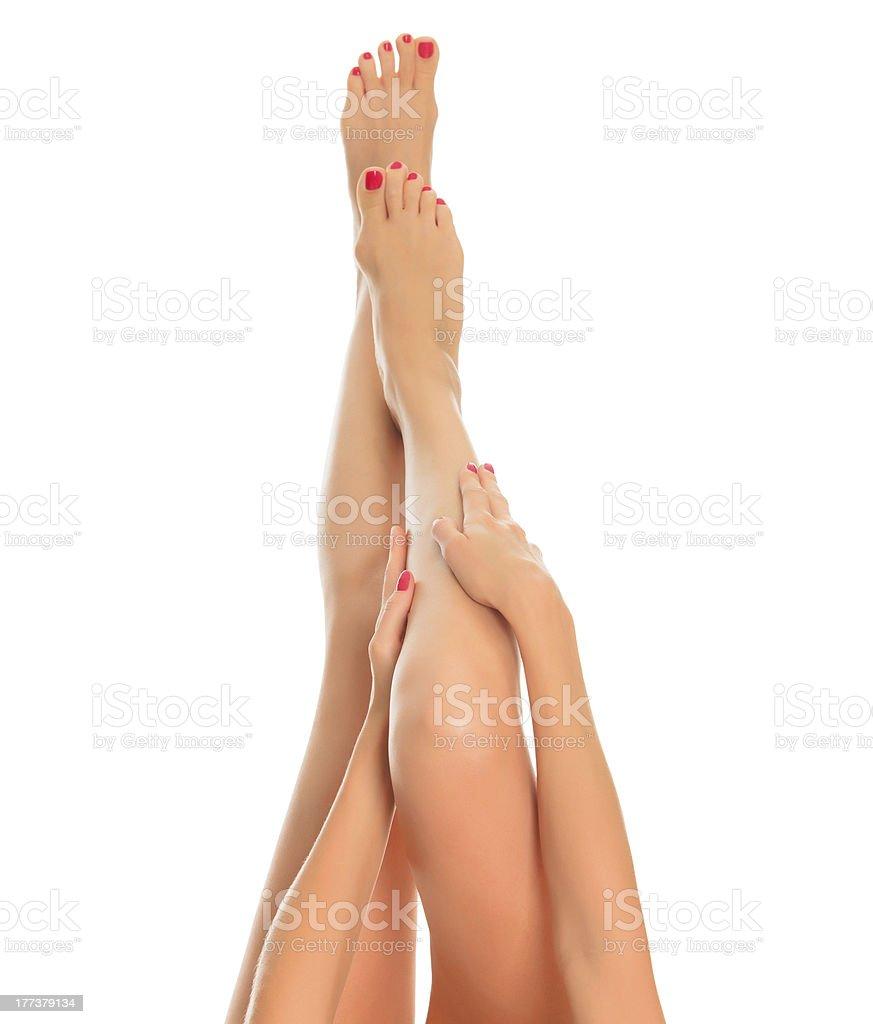 Long female legs stock photo
