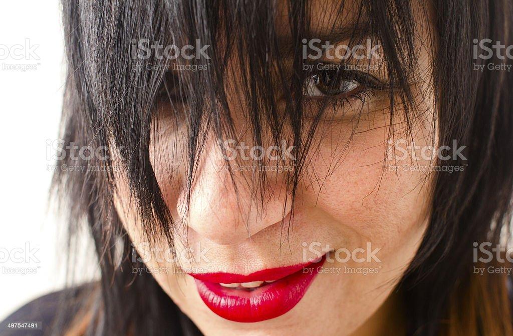 Long fringe hair stock photo
