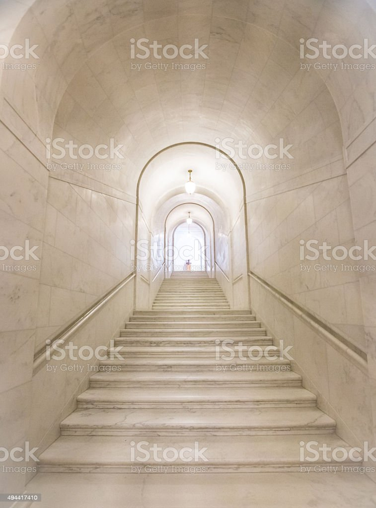 Long Granite staircase in the United States Supreme Court Building stock photo