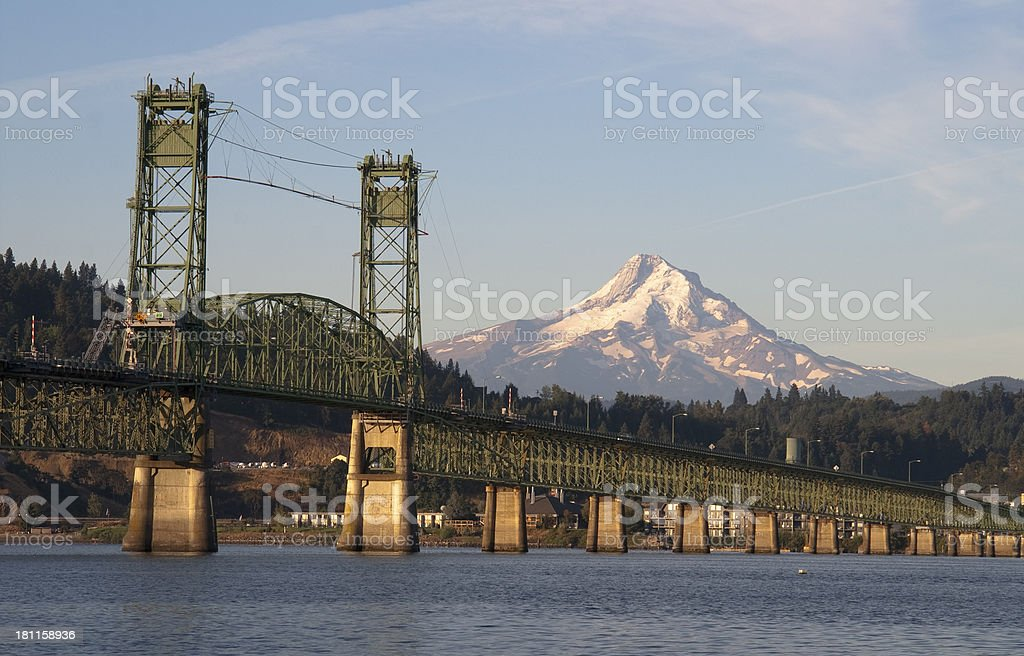 Long green bridge over Columbia to Hood River Oregon stock photo