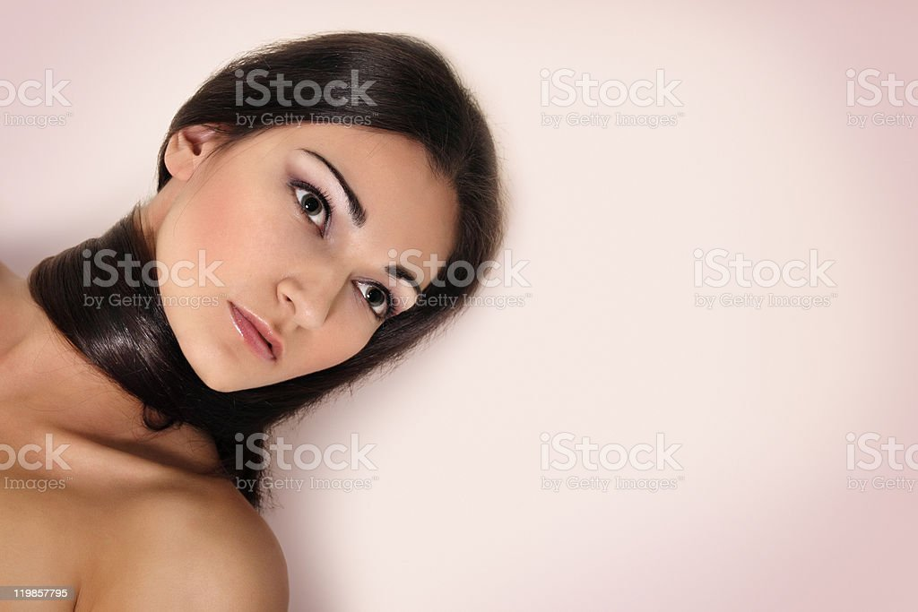 long hair beautiful young brunette royalty-free stock photo