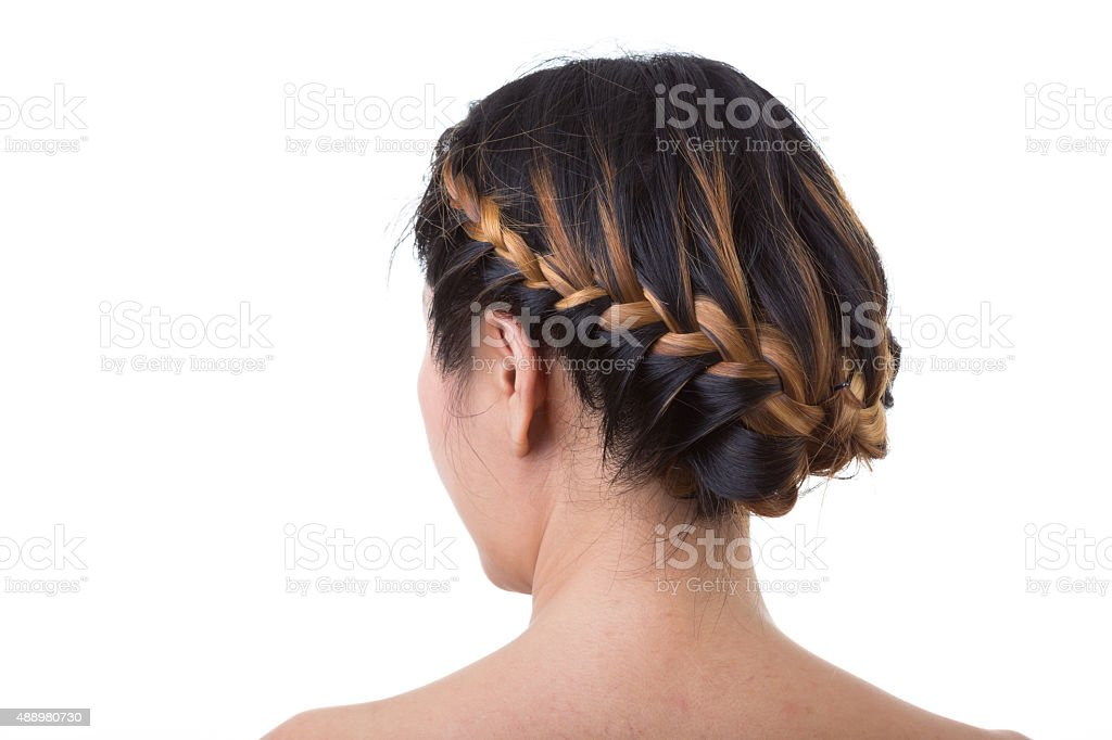 long hair braid style isolated on white background stock photo