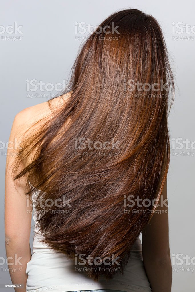 Long hair from behind stock photo