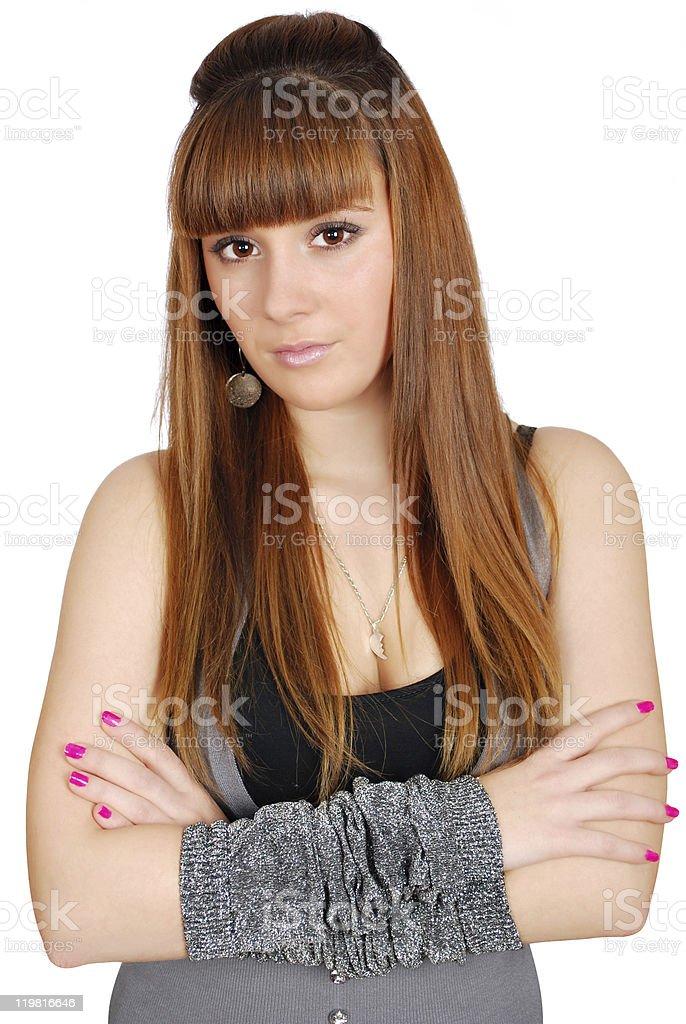 long hair teenage girl portrait stock photo