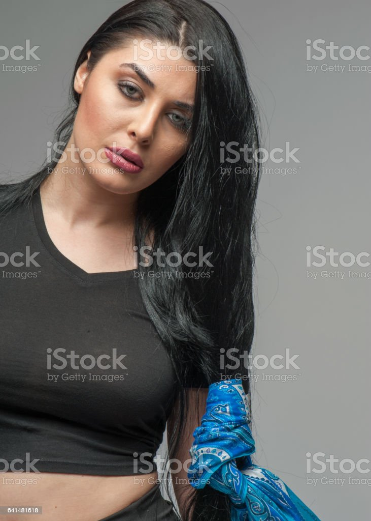 Long haired attractive woman stock photo