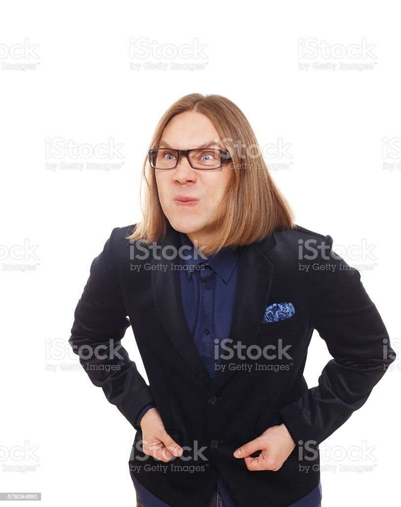 Long haired grimaced man in glasses portrait isolated at white stock photo