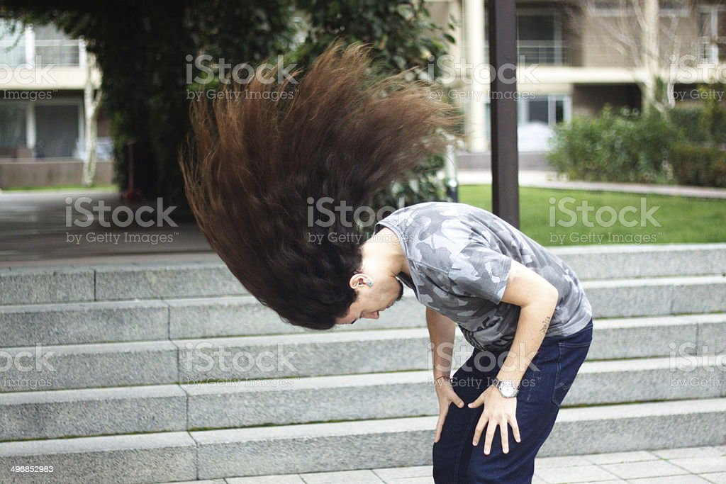 Long haired man stock photo