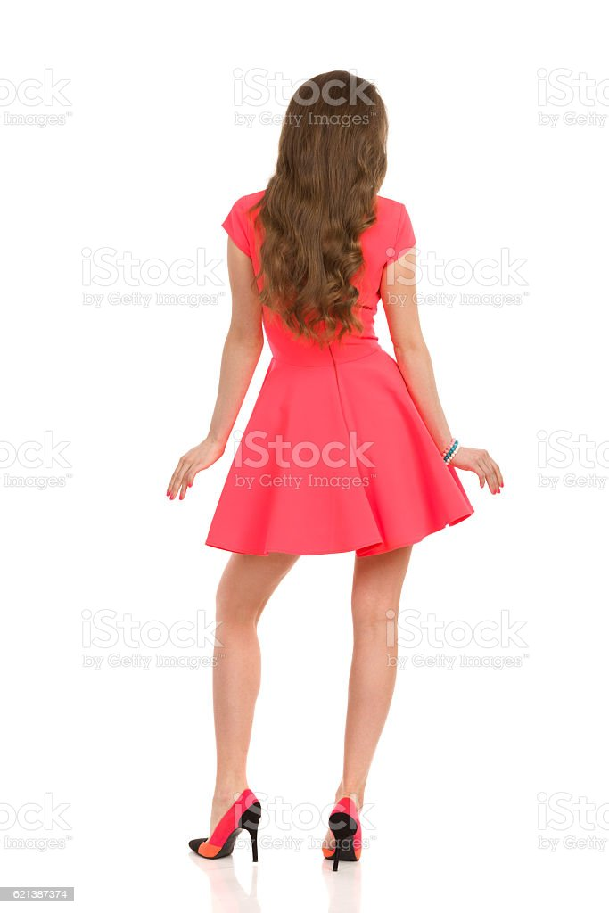 Long Haired Woman In Pink Mini Dress. Rear View. stock photo